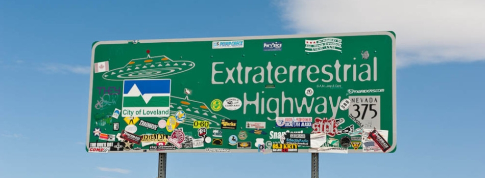 Extraterrestrial Highway sign stickers 2